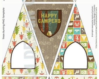 CAMPING Party {3 BLANK Picture Bunting Styles} Bunting Printable {Instant Download}