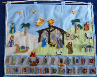 Nativity Advent Calendar - Felt Christmas Figures - Flannel Banner - Christmas Keepsake - Handmade Calendar Manger Scene - 24 day Count Down