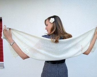 Elegant shawl, off-white, ajour pattern, crochet lace, knitted shawl