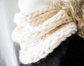Ivory Infinity        Neck Warmer, Cowl Infinity Scarf. Scarflet, Super Chunky, Alpaca, Ivory, Off White, Hand made in VT, Soft and Warm