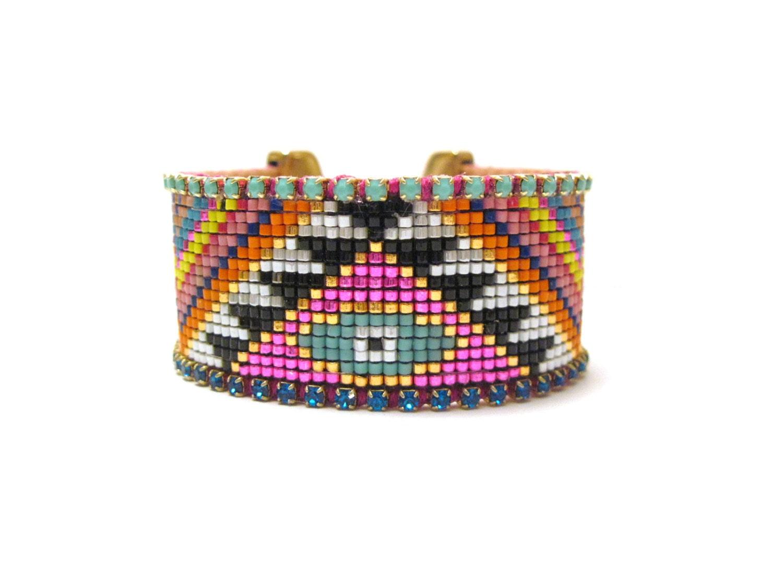 tribal bead loom bracelet evil eye bracelet beaded