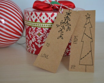 Digital Download - Hand Drawn Christmas Gift Tags, Download and Print