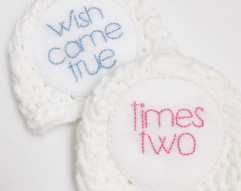 Wish came true  twins hat set- two hats for newborn twins, photography prop