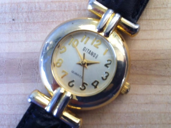 Vintage Gitano Ladies Watch - Gold Color Italian Designer Style Chic Fashion Women's Watch -- Works Perfectly- Battery Included