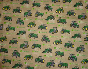 Brown with Green John Deere Tractor Cotton Fabric by the Yard