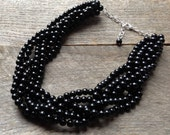 Black Pearl Statement Necklace, Multi Strand Wedding Necklace, Chunky Braided Necklace on Silver or Gold Chain