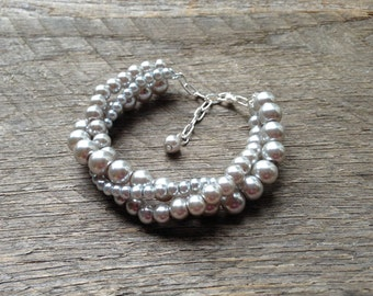 Grey Pearl Bracelet Bridal Bracelet Twisted Clusters on Silver or Gold Chain