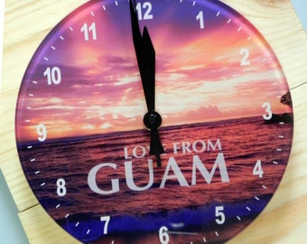 Sunset at Guam Beach Clock, Openface Clock, Island Clock