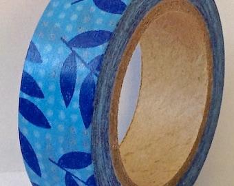 "SALE Washi Tape ""Blue Leaves""   10 Meters"