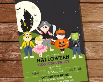 Halloween Costume Party Invitation - Kids Halloween Party Invitation - Halloween Invitations - Instant Download and Edit with Adobe Reader