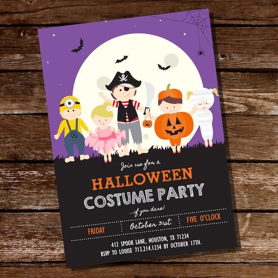 halloween costume party invitation kids halloween party