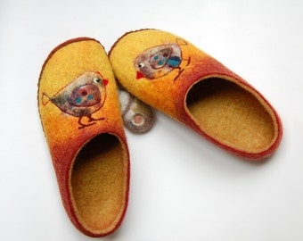 Birds art slippers - slippers for women - felted slippers with leather soles -  felt slippers - natural wool house shoes - made to order