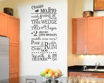 Kitchen wall decor - Mojito wall decal - kitchen wall decal - recipe wall decal - Bar wall decor - Drink wall decal - Wall decor - Wall Art