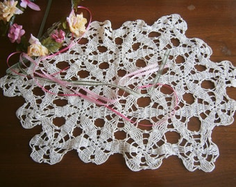Hand Crocheted Lacy Doily / Table Topper / Centerpiece / Off White Cotton / Vintage Doily