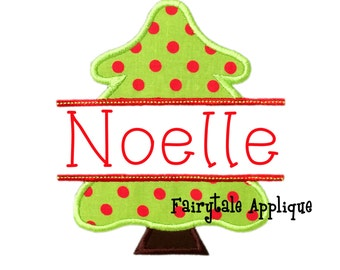 Digital Machine Embroidery Design - Split Christmas Tree Applique
