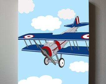 Vintage Airplane Canvas Art , Kids Wall Art - Airplane Nursery Art - Art for Boys Children Wall Art, Canvas Art for boy nursery decor