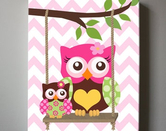 Pink and Brown Girl Nursery Owl  Decor - Nursery wall art - OWL Canvas Art, Baby Girl Nursery Owls on Swing