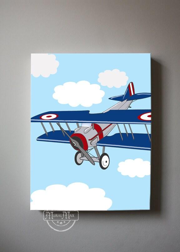 Airplane Wall Decor Nursery : Vintage airplane canvas art kids wall nursery