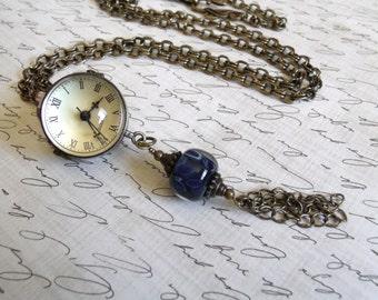 Steampunk Globe Watch Necklace & Handmade Boro Glass Bead Weight / Antique Style Watch / Feminine Steampunk - Brass / Deep Blue - 30 in