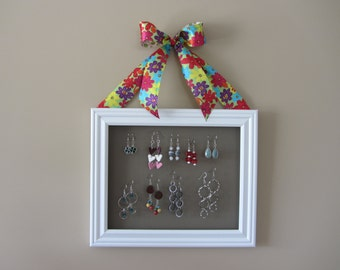 SALE! White Earring Organizer with Flower Ribbon