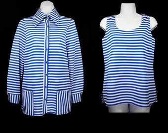10 Dollar Sale---Vintage 70's KARLANA KNITWEAR LTD. 2 Piece Set of Blue White Stripe Tank Top & Jacket Size 12