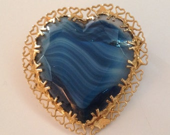 Vintage Blue Swirled Glass Heart Brooch