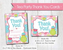 Pink Tea Party Thank You Cards- Instant Download