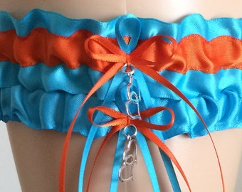 Wedding Garter Set, Bridal Garter Set, Turquoise and Orange Garter Set, Keepsake Garter,