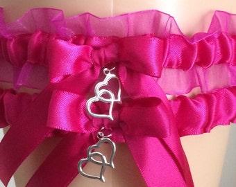 Fuchsia Pink Organza Wedding Garter, Bridal Garter Sets, Keepsake Garter, Prom Garter, Wedding Accessories