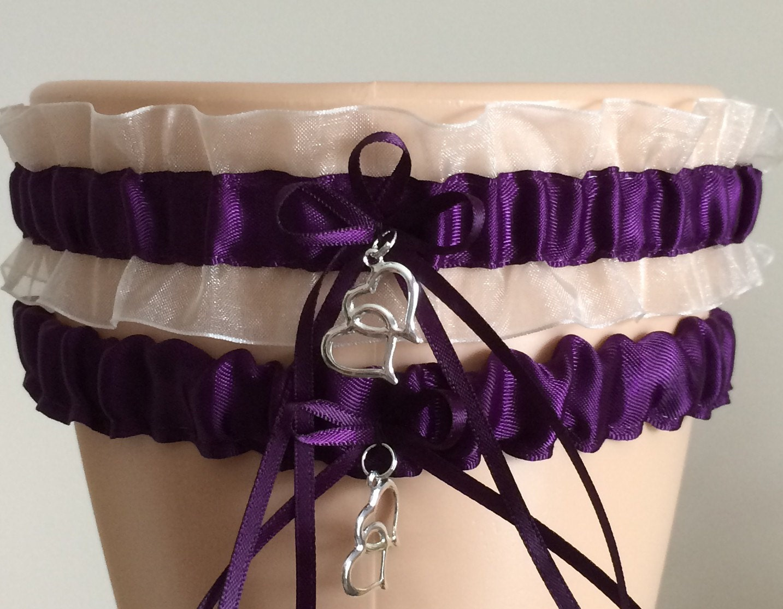 Plum Purple And White Organza Wedding Garter Set Bridal