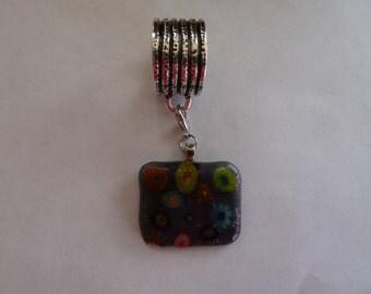 Scarf Slide with Multicolored Milliflori glass pendant