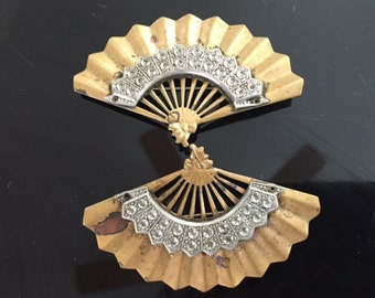 SALE-1940's Art Deco Marcasite Fan Pins-Brooches