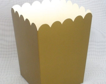 GOLD Popcorn Boxes / Treat Boxes / Favor Boxes 12 pack /  4x3x3 / Fill with your Favorite Treats / Candy Buffet