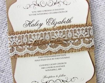 Burlap Lace Wedding Invitation, Rustic Wedding Invitation, Lace Wedding Invitation, Country invitation, barn wedding, Wedding Invitation Set
