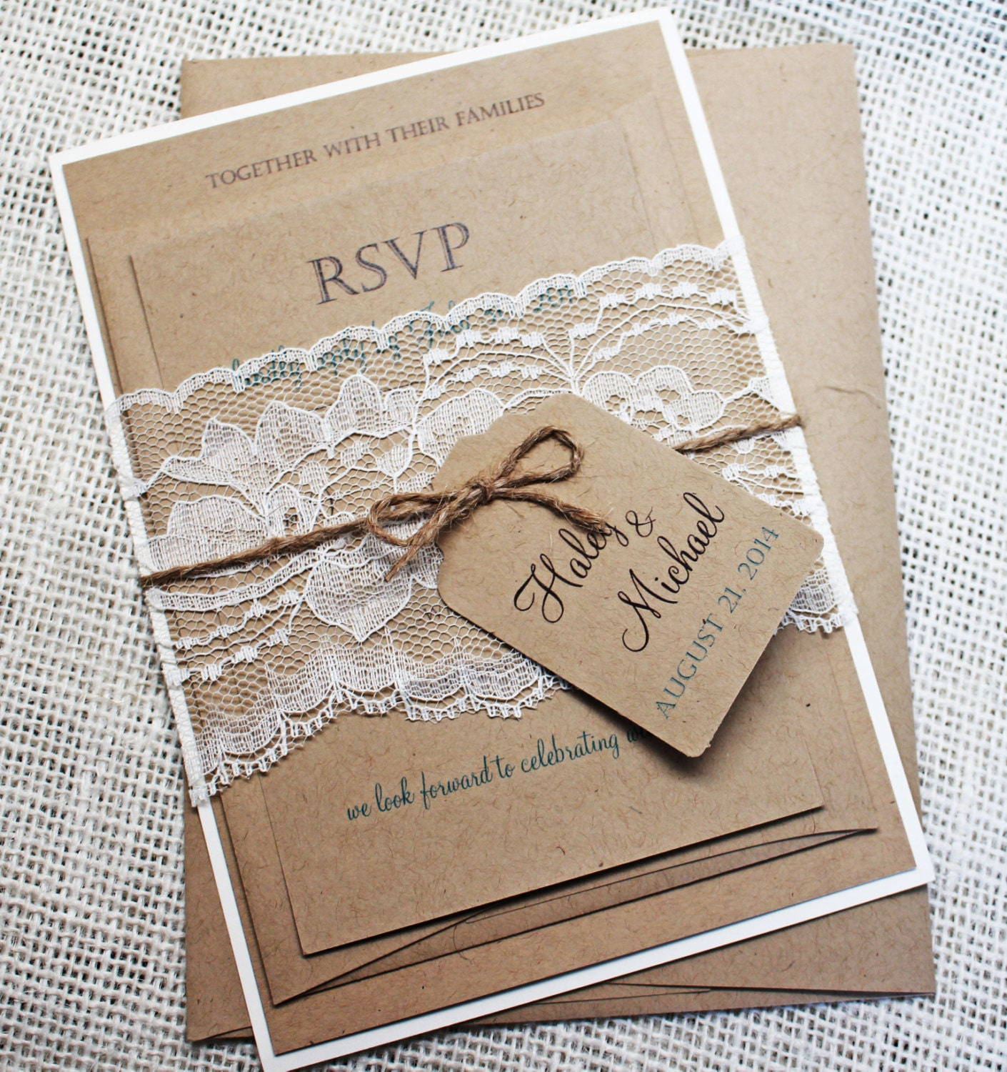 DIY Rustic Wedding Invitation Kit Eco Kraft And Rustic Lace