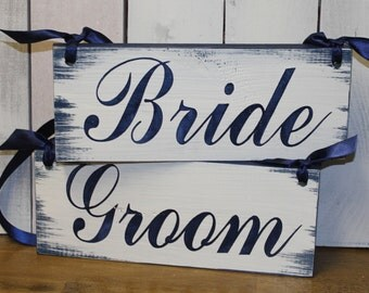 BRIDE - GROOM Chair Signs/Photo Prop/Great Shower Gift/Navy Blue/Wood Signs