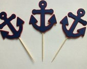 12 Navy Blue and Red Anchor Cupcake Toppers, Banner, Centerpieces, Birthday, Baby Shower, Nautical
