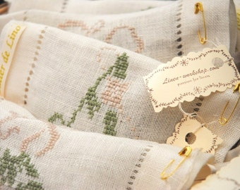 Scent linen sachets  ,Monogrammed Sachet scent ,Lavender Sachet , Scent sachet hemstitched
