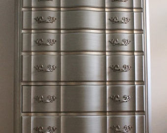 French Grey Tall Dresser/Chest of drawers/Bureau - see below for details*