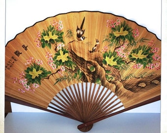 large wall fan accordion birds cherry blossoms chinoiserie  vintage