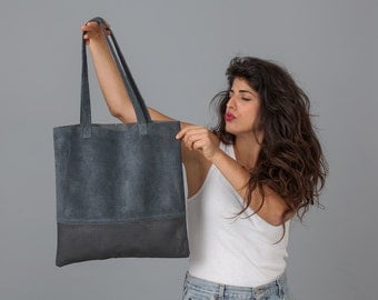 Faux Leather Bag - Leather Tote Bag - EveryDay Vegan Bag - Large Tote Bag - Navy Leather Bag - Summer Bag