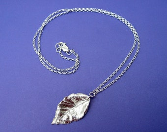 Fine silver and sterling silver leaf necklace
