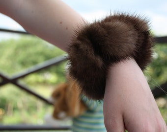 Mink fur scrunchies solid canvas, large size