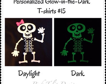 Personalized Glow-in-the-dark HTV Skeleton T-shirt