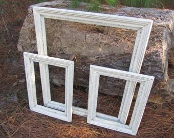 Shabby Chic Antique White Frames, Distressed Frames, nautical frames, beach frames , Gallery Frames, Photo Prop Frames, Coastal frames