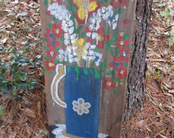Hand Painted, Wood Painting, Country Decor, Cottage Decor, Hand Made, folk art, flower painting