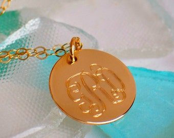 Monogram Necklace - Custom Engraved Monogram on Gold Disc - Personalized Engraving - Engraved Necklace