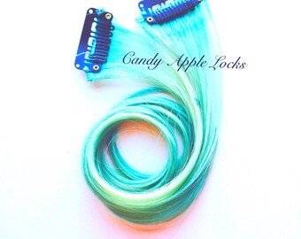 Mint Human Hair Extensions, Clip in Human Hair Pastel, Rainbow Real Hair, Dip Dye Ombre