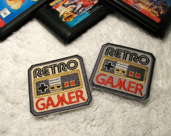 Retro Gamer Iron On Patch -  Embroidered Old School Gamer Patch - Geekery - Geek Patch - Retro Gaming Patch
