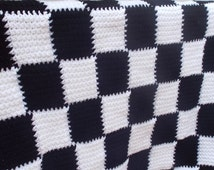 Crochet Entrelac Blanket Toddler Afghan Black and White Checkered Flag Throw Bedspread
